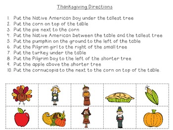 Thanksgiving Following Directions FREEBIE!