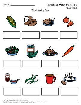 Thanksgiving Food PECS Activity Pack