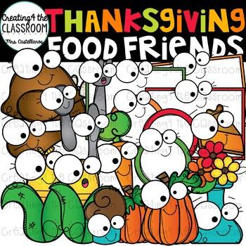 Thanksgiving Food Friends Clip Art  {Thanksgiving Clip Art}