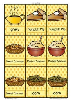 Thanksgiving Food Vocabulary Game