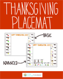 Thanksgiving Food Interaction and Communication Placemat - Basic
