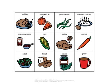 Thanksgiving Food PECS Lesson Book