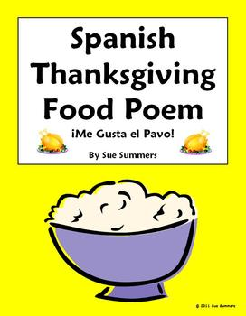 Spanish Thanksgiving Food Poem  - Me Gusta El Pavo / I Like Turkey