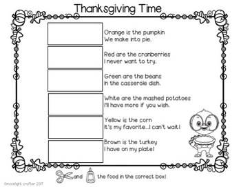 Thanksgiving Food Shared Reading Poetry Materials