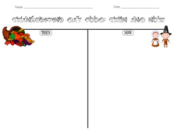 Thanksgiving Food: Then & Now T-Chart