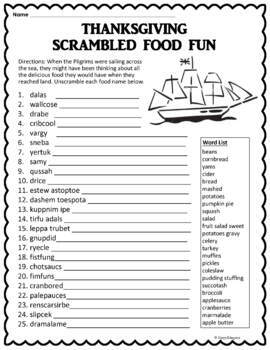 Thanksgiving Word Scramble Puzzle - Thanksgiving Food