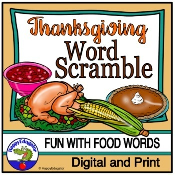 Thanksgiving Word Scramble Puzzle Fun Vocabulary Activity By