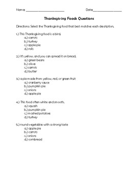 Thanksgiving Word Search and Vocabulary Questions