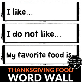Thanksgiving Word Wall - Thanksgiving Food