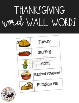 Thanksgiving Food Words