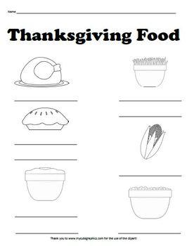 Thanksgiving Food Worksheet