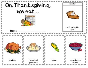 Thanksgiving Food flip book