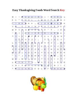 Thanksgiving Foods Easy Word Search