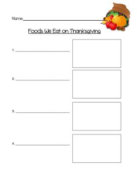 Thanksgiving Foods List Paper