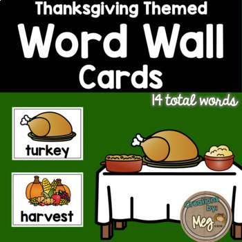 Thanksgiving Food Word Wall Cards