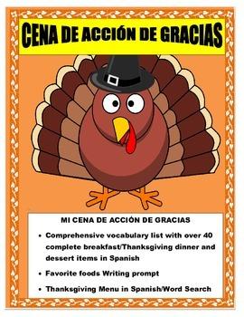Thanksgiving Foods in Spanish- Mi Cena de Acción de Gracias-Comida