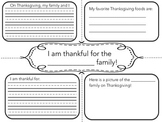 Thanksgiving Four Square Writing