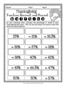 Thanksgiving Fraction/Decimal/Percent Match-up