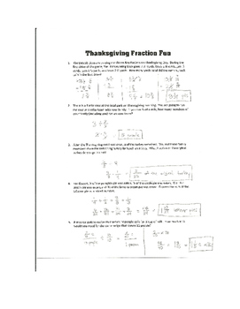 Thanksgiving Fraction Fun - Math