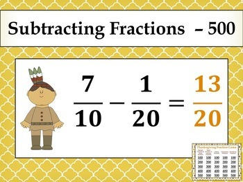 Thanksgiving Fraction Game - similar to Jeopardy