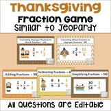 Thanksgiving Fraction Game Similar to Jeopardy