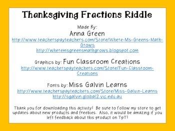 Thanksgiving Fraction Riddle FREEBIE