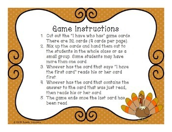 I Have Who Has Thanksgiving Fractions Game