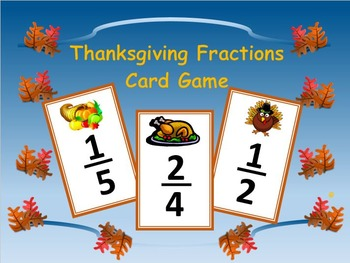 Thanksgiving Fractions Card Game