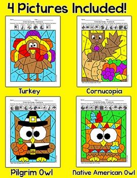 Thanksgiving Math Fractions: Turkey, Pilgrim, Native American, Cornucopia