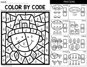 Thanksgiving Fractions Coloring Sheets