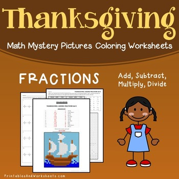 Thanksgiving Fractions Coloring Worksheets