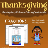 Thanksgiving Fractions Activities Math Coloring Sheets