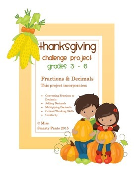 Thanksgiving Fractions & Decimals Challenge Project