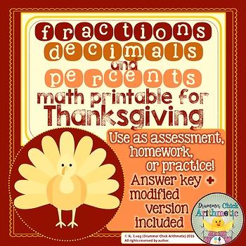 Thanksgiving Fractions, Decimals, and Percents
