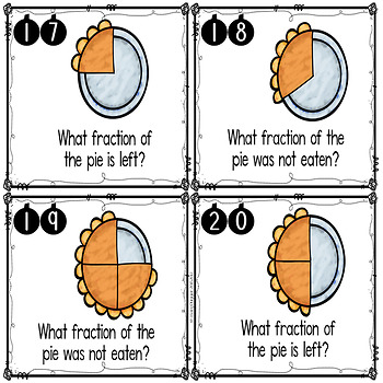 Thanksgiving Fractions Task Cards FREEBIE