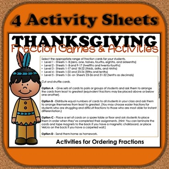 Thanksgiving Fractions Games and Activities