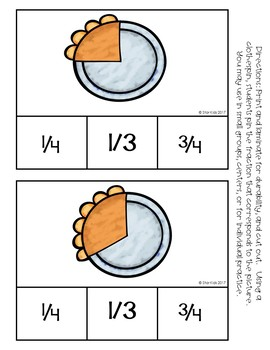 Thanksgiving Fractions Practice in English and Spanish for K-1
