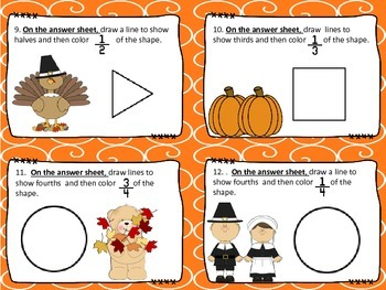 Thanksgiving Fractions Task Cards