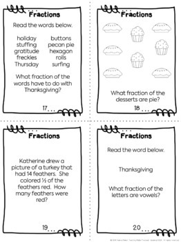 Thanksgiving Fractions: Task Cards