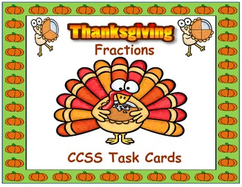 Thanksgiving Fractions Task Cards 3.NF