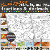 Thanksgiving Math Activity Fractions and Decimals Color by