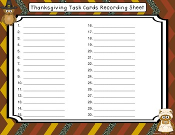 Thanksgiving Fractions and Percents Story Problem Task Cards