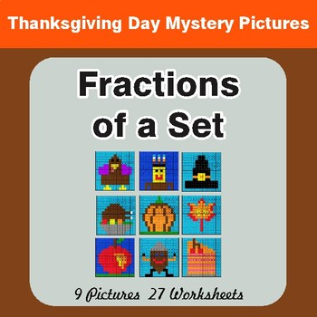 Thanksgiving: Fractions of a Set - Color-By-Number Math Mystery Pictures