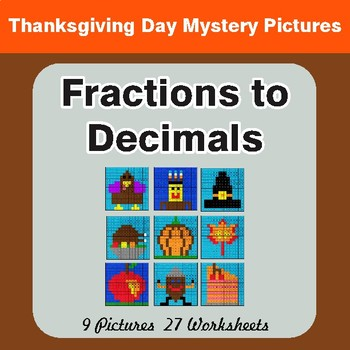 Thanksgiving: Fractions to Decimals - Color-By-Number Math Mystery Pictures