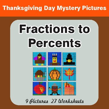 Thanksgiving: Fractions to Percents - Color-By-Number Math Mystery Pictures