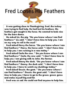 Thanksgiving: Fred Looses His Feathers