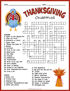 thanksgiving crossword puzzle by puzzles to print tpt. Black Bedroom Furniture Sets. Home Design Ideas