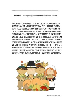 Thanksgiving Free Printable! Line word search! FUN!