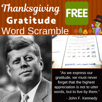 Thanksgiving Freebie for Middle School - Gratitude Quote