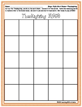 Thanksgiving Freebie ~ Bingo-Style Word Game ~ Cut & Paste Version Included